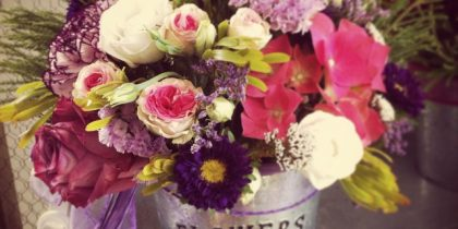 cubo de zinc flowers y garden
